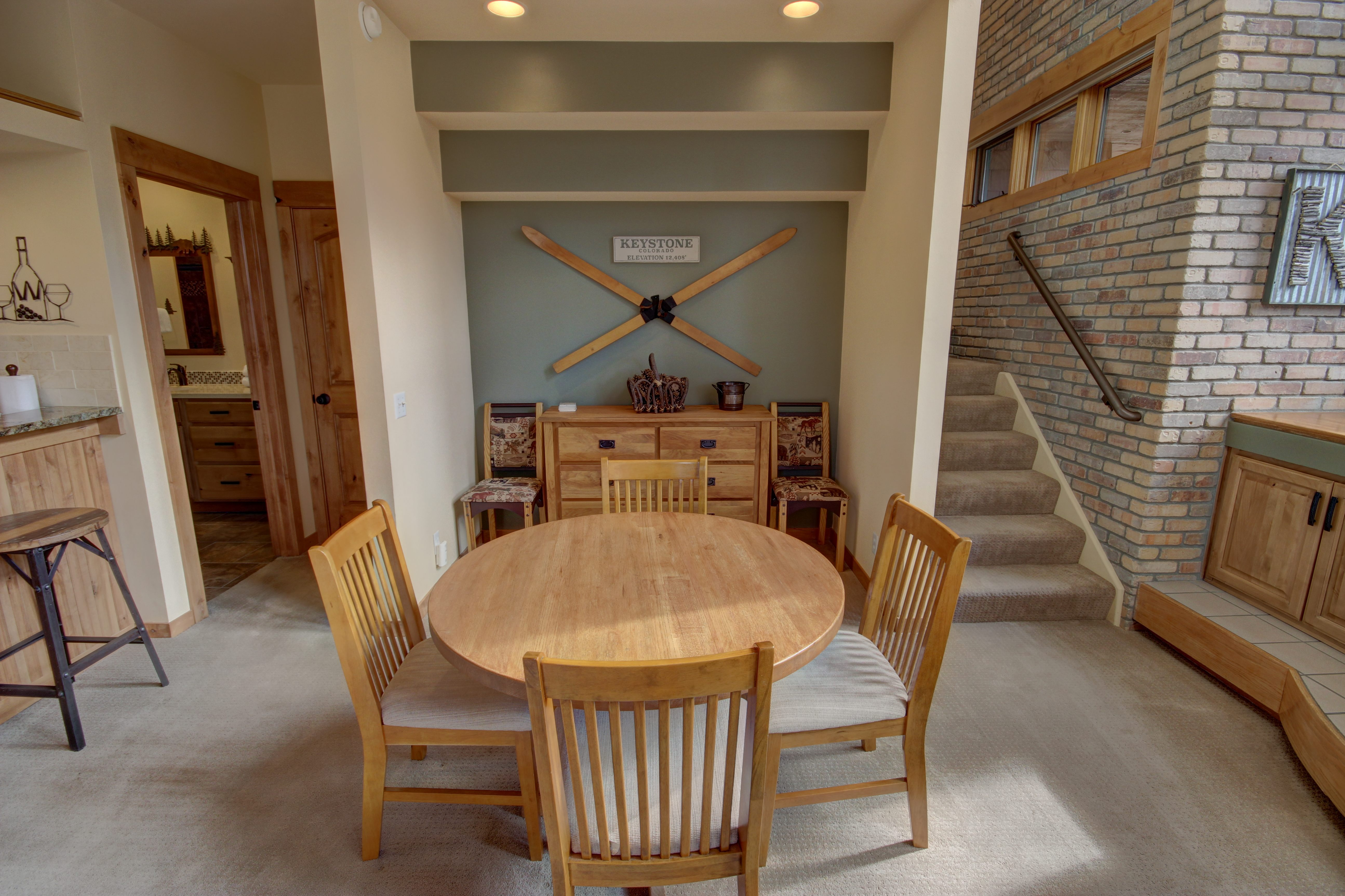 Dining room with beautiful wooden tables