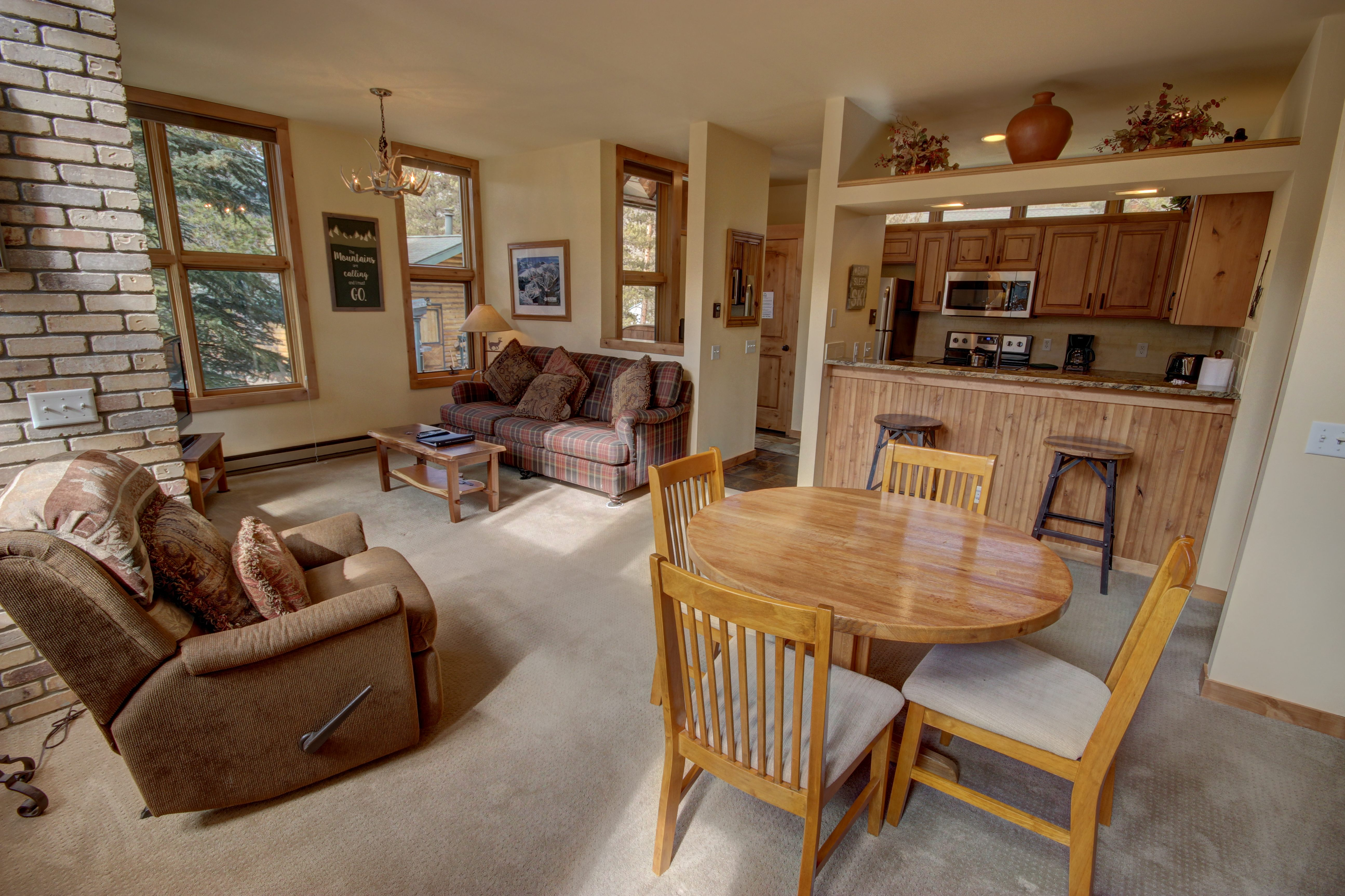 Living room with wooden dining table