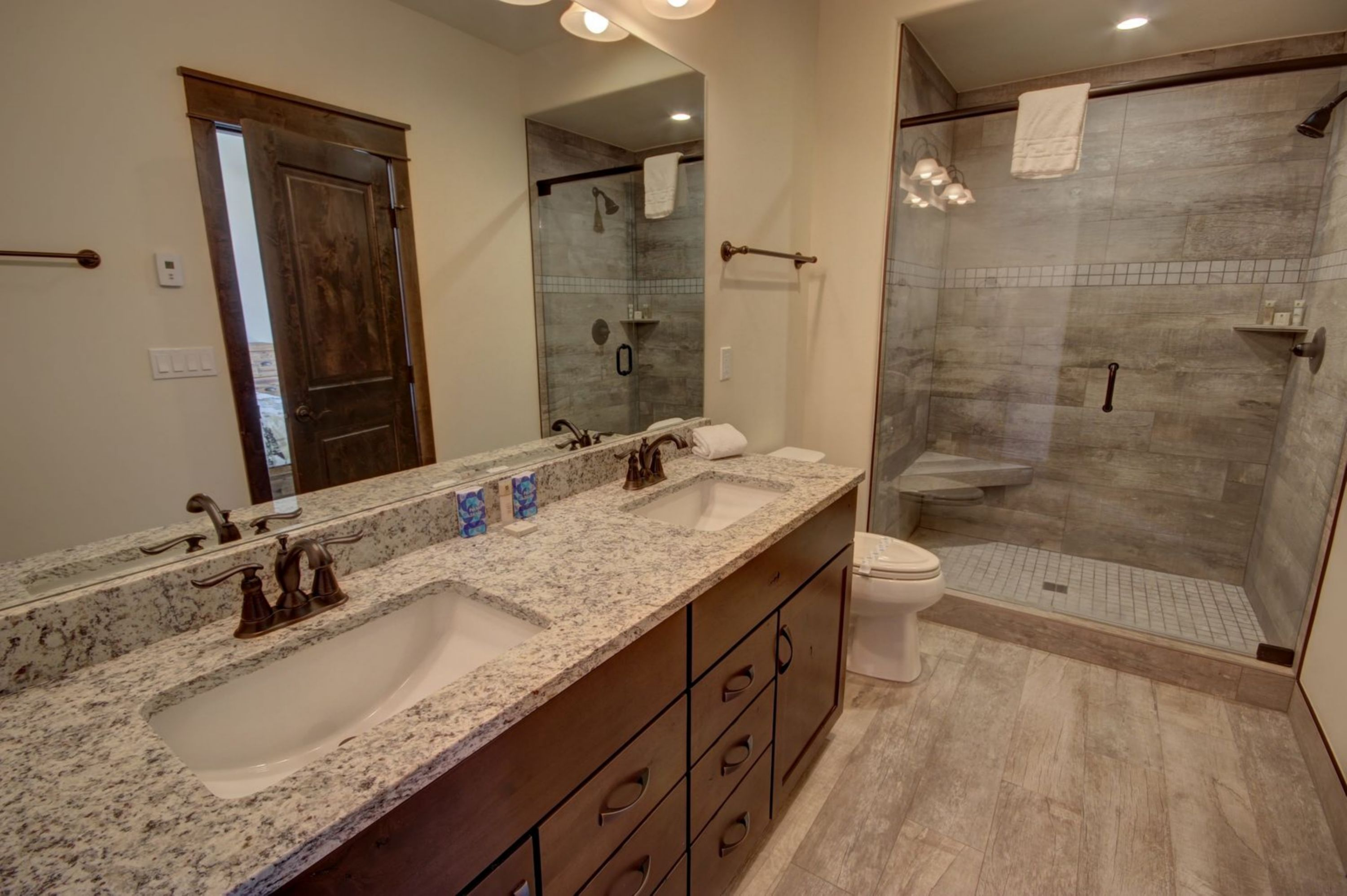 Bathroom with gorgeous granite counters
