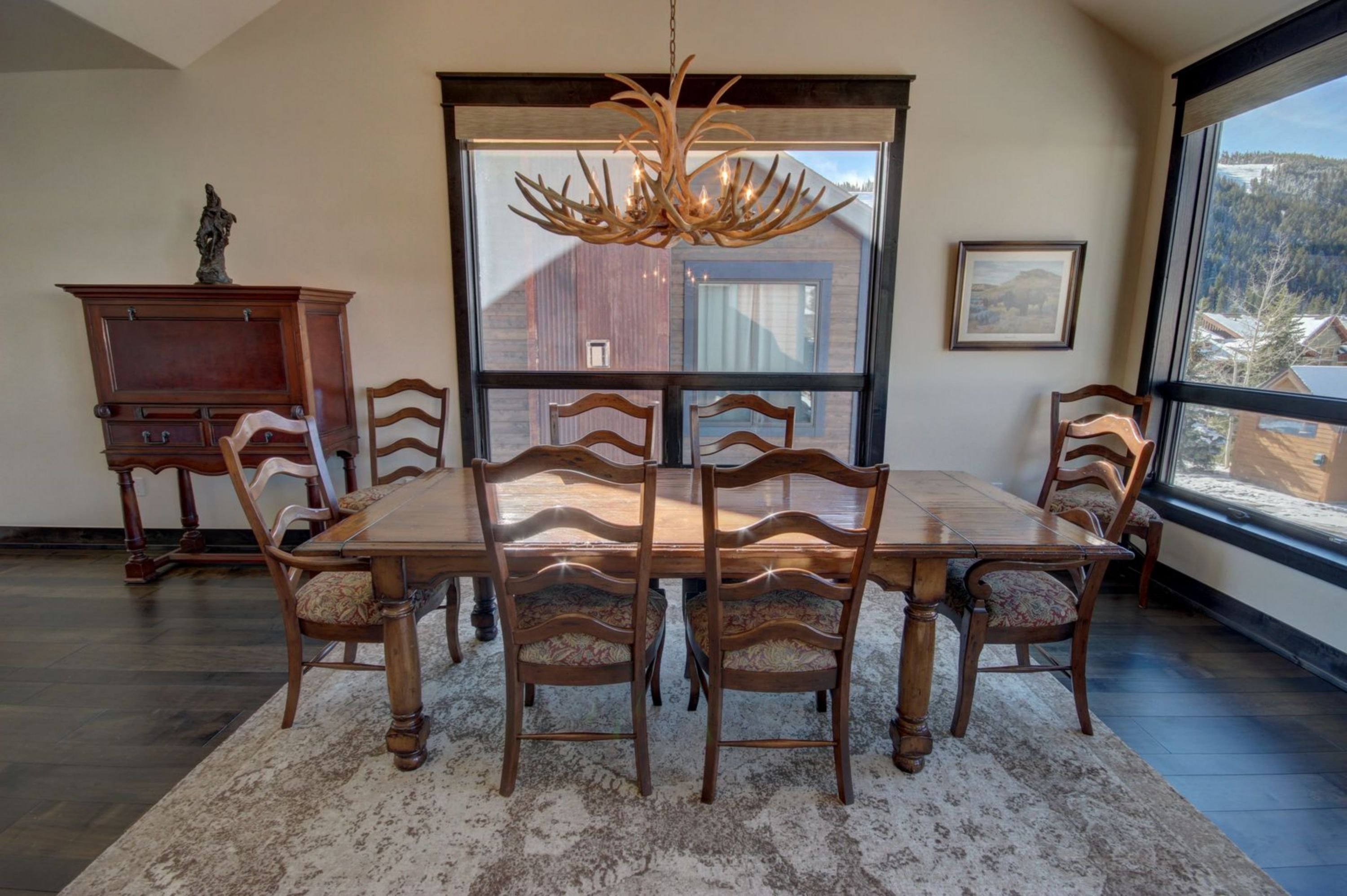 Dining room with beautiful wooden table