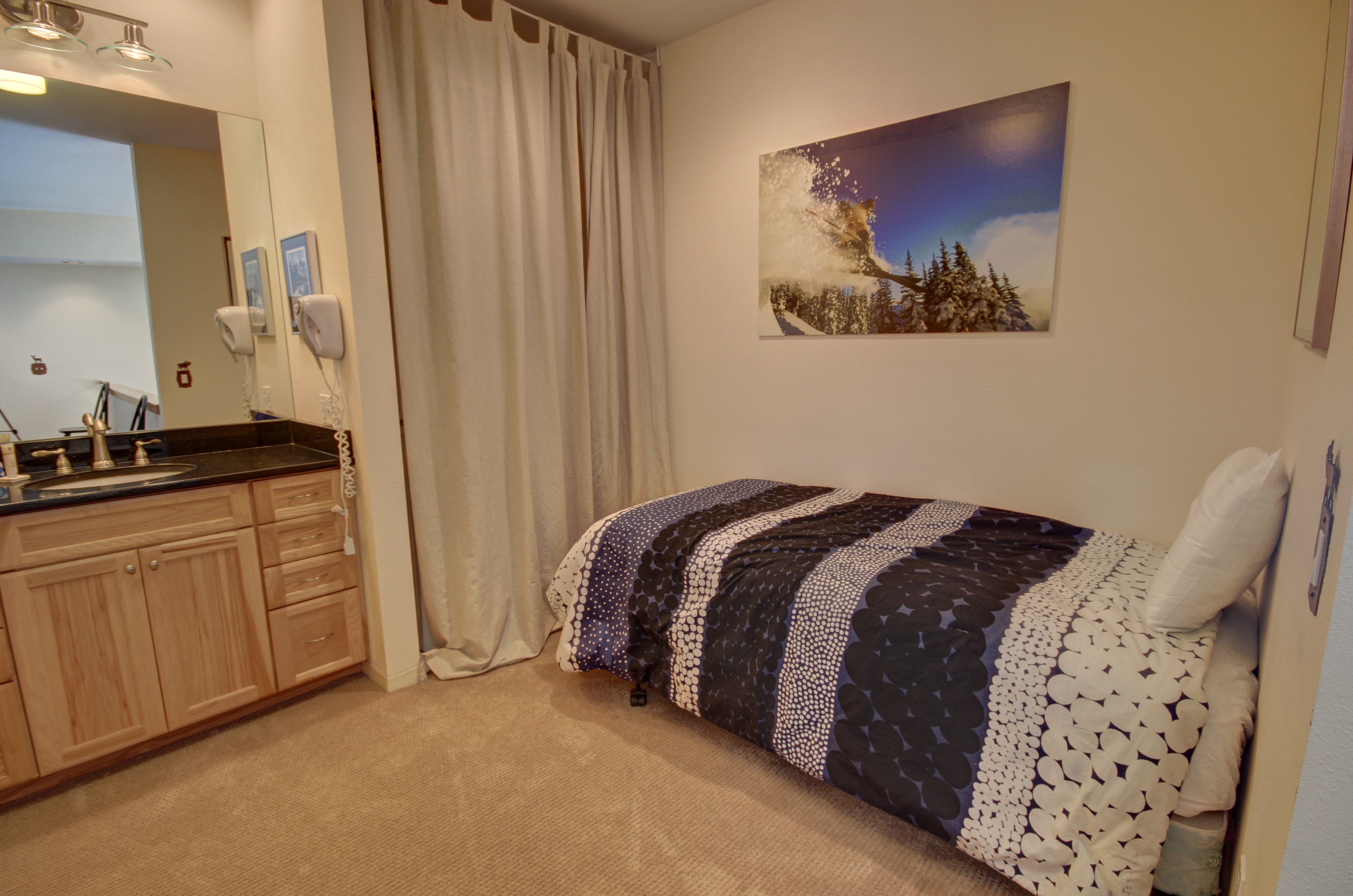 Comfortable bed with space to relax