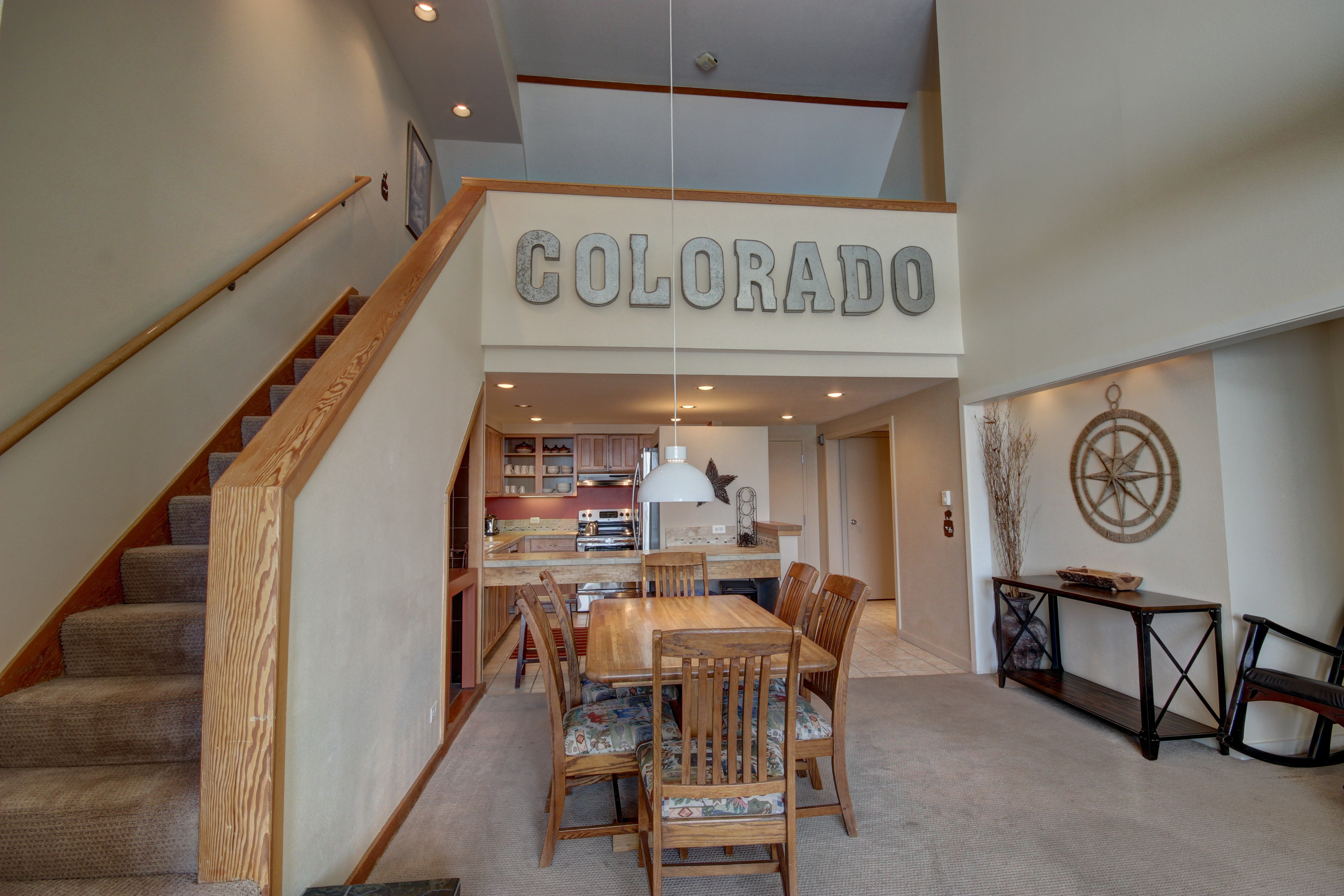 Dining room with an amazing colorado sign