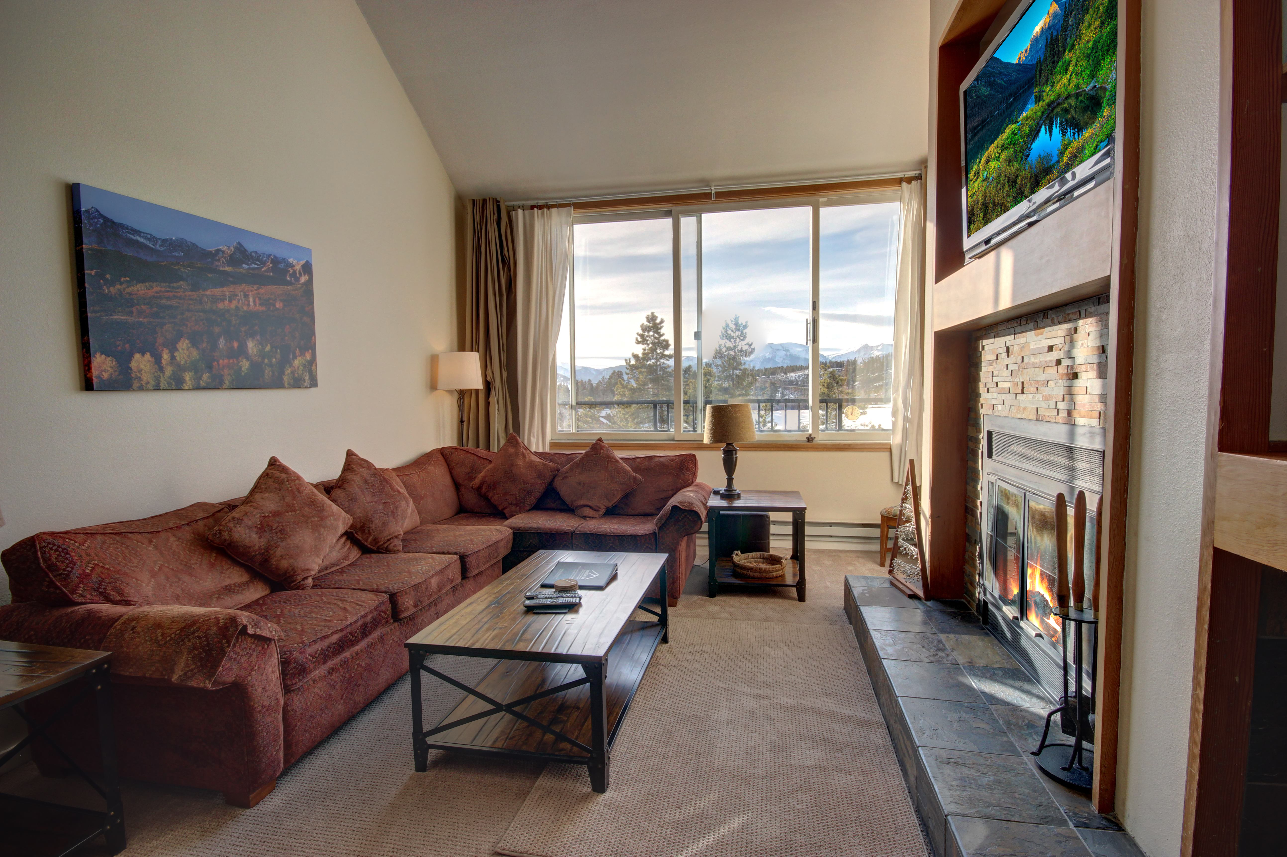 Relax on comfortable couches with an amazing view