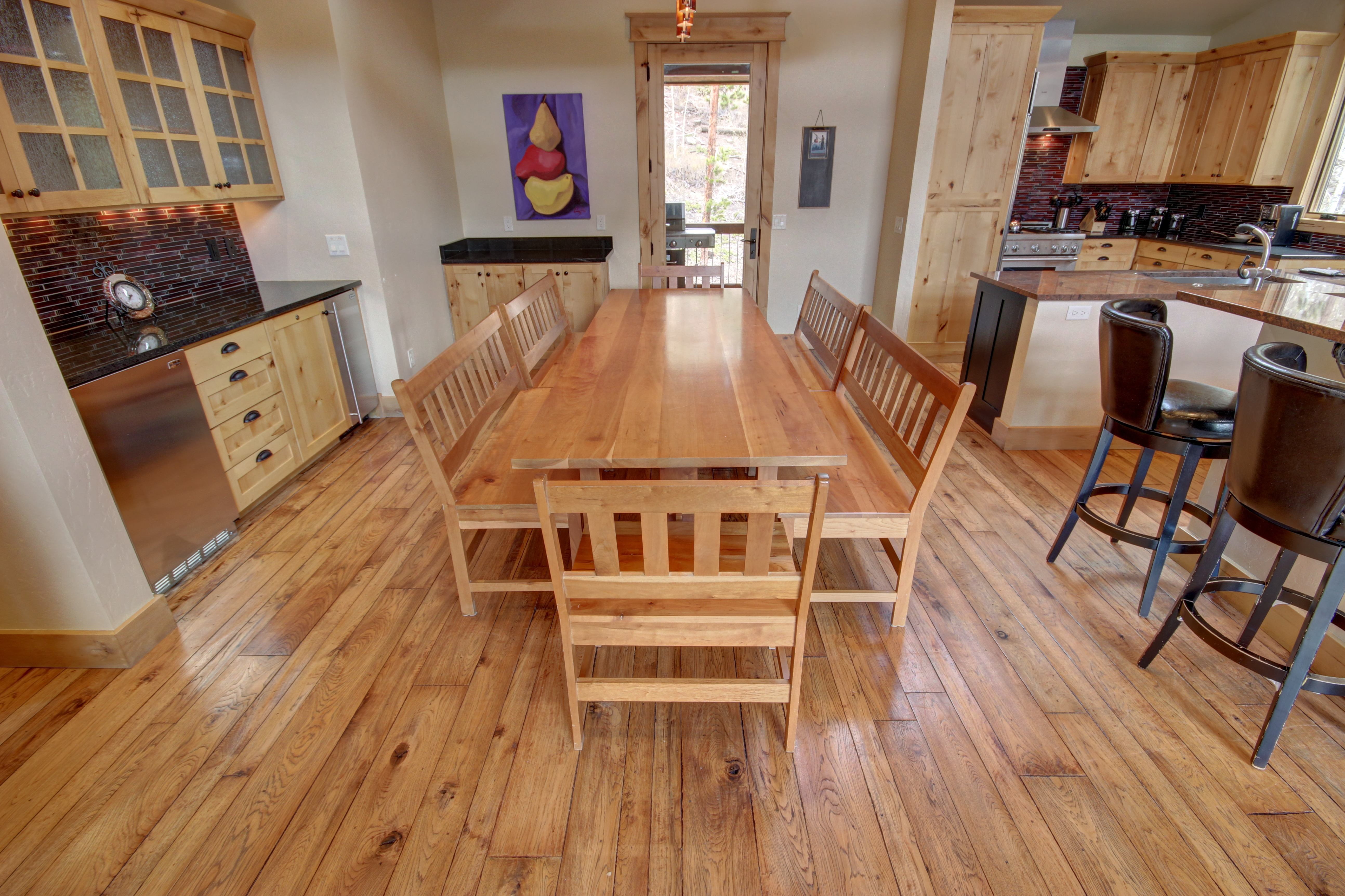 Beautiful dining area with wooden table