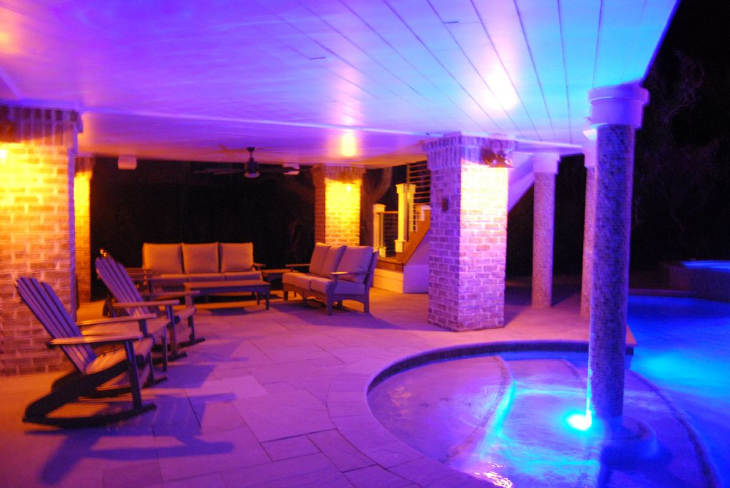 Pool covered seating at night