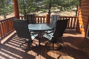 Enjoy the view of Long Peak on the large deck