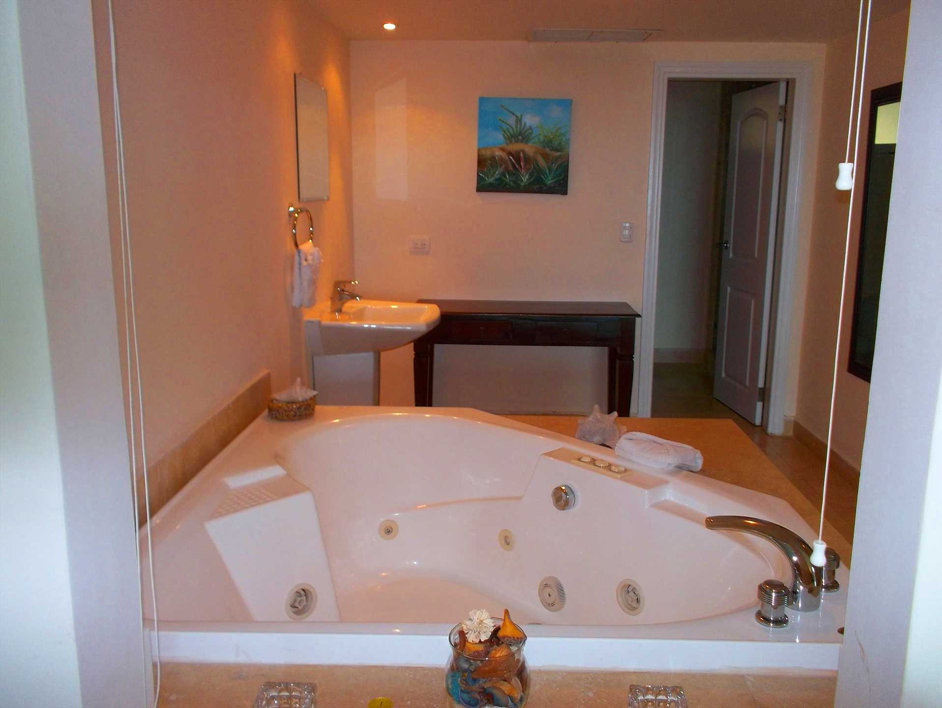 In-room private Jacuzzi and fully equipped bathroom and closet.