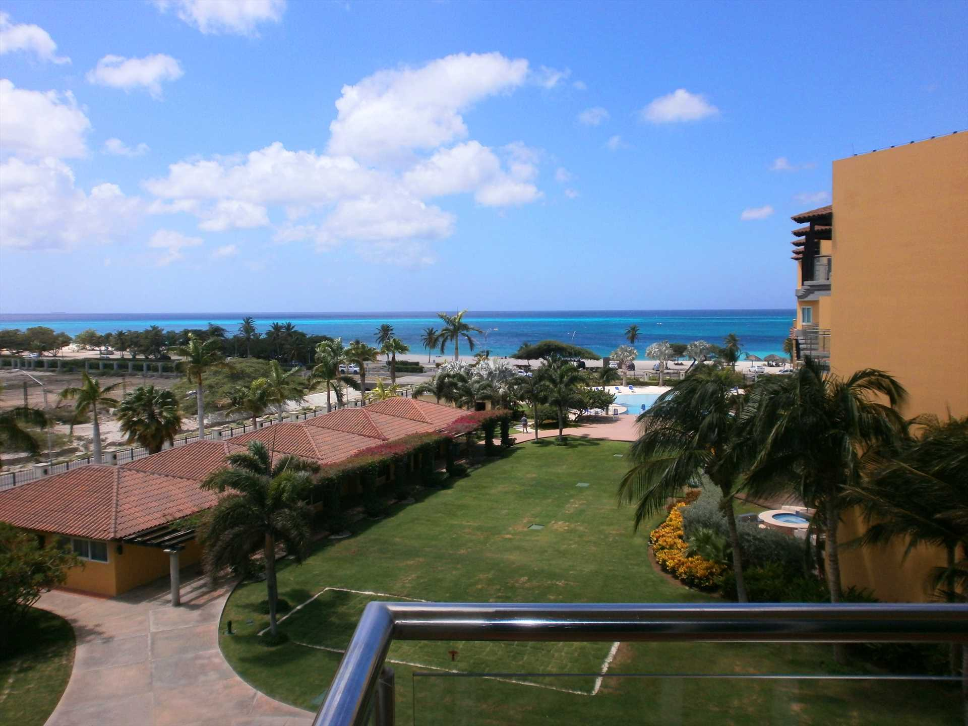 Your view from the balcony of the beach and resort pool