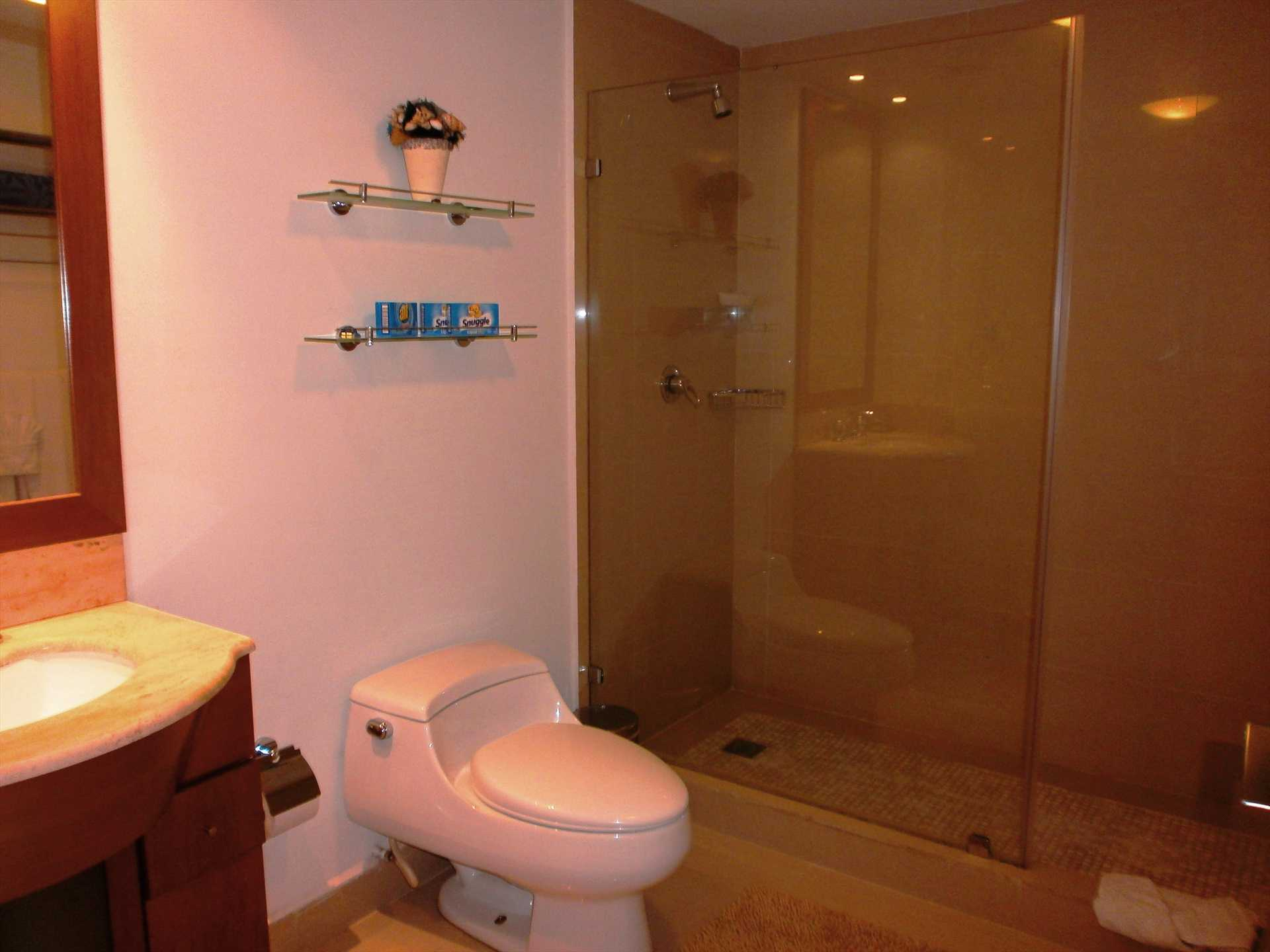 Fully equipped modern bathroom with shower