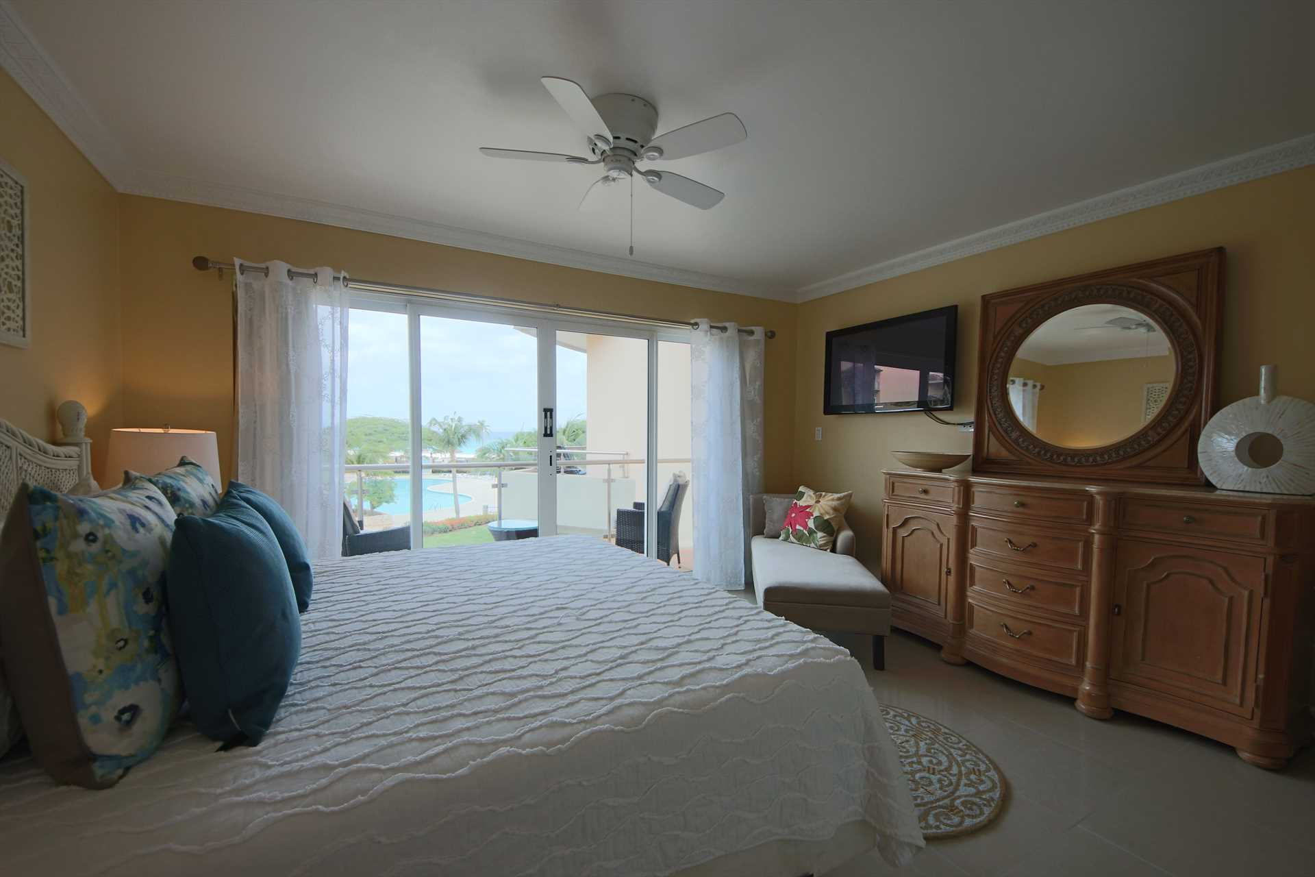 Master bedroom with TV and great views