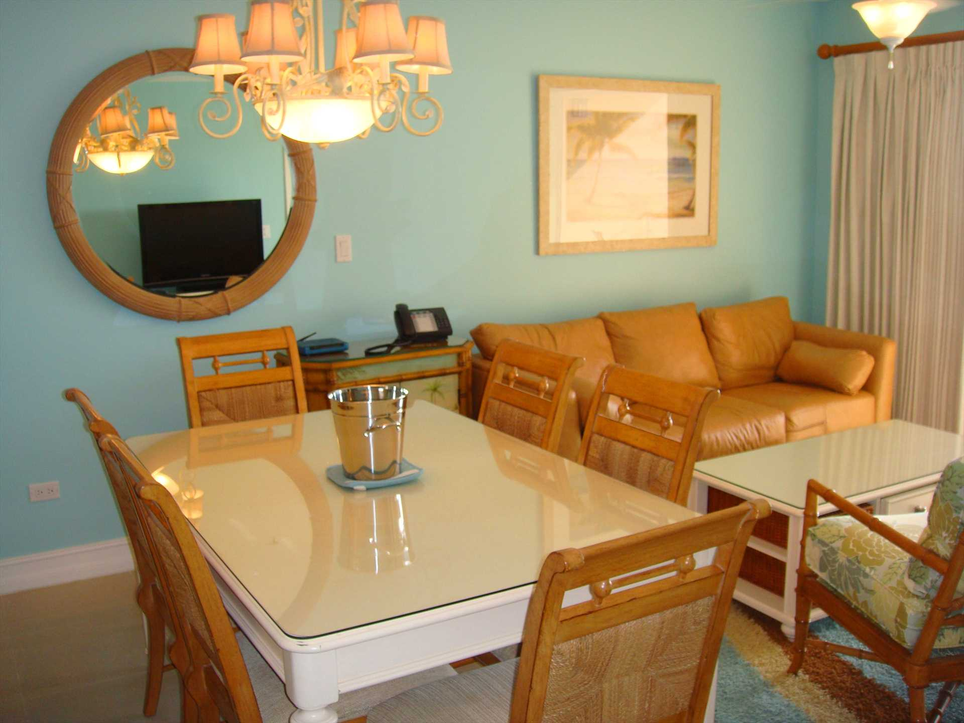 Dine, lounge, watch HDTV while you enjoy the ocean view through the balcony....