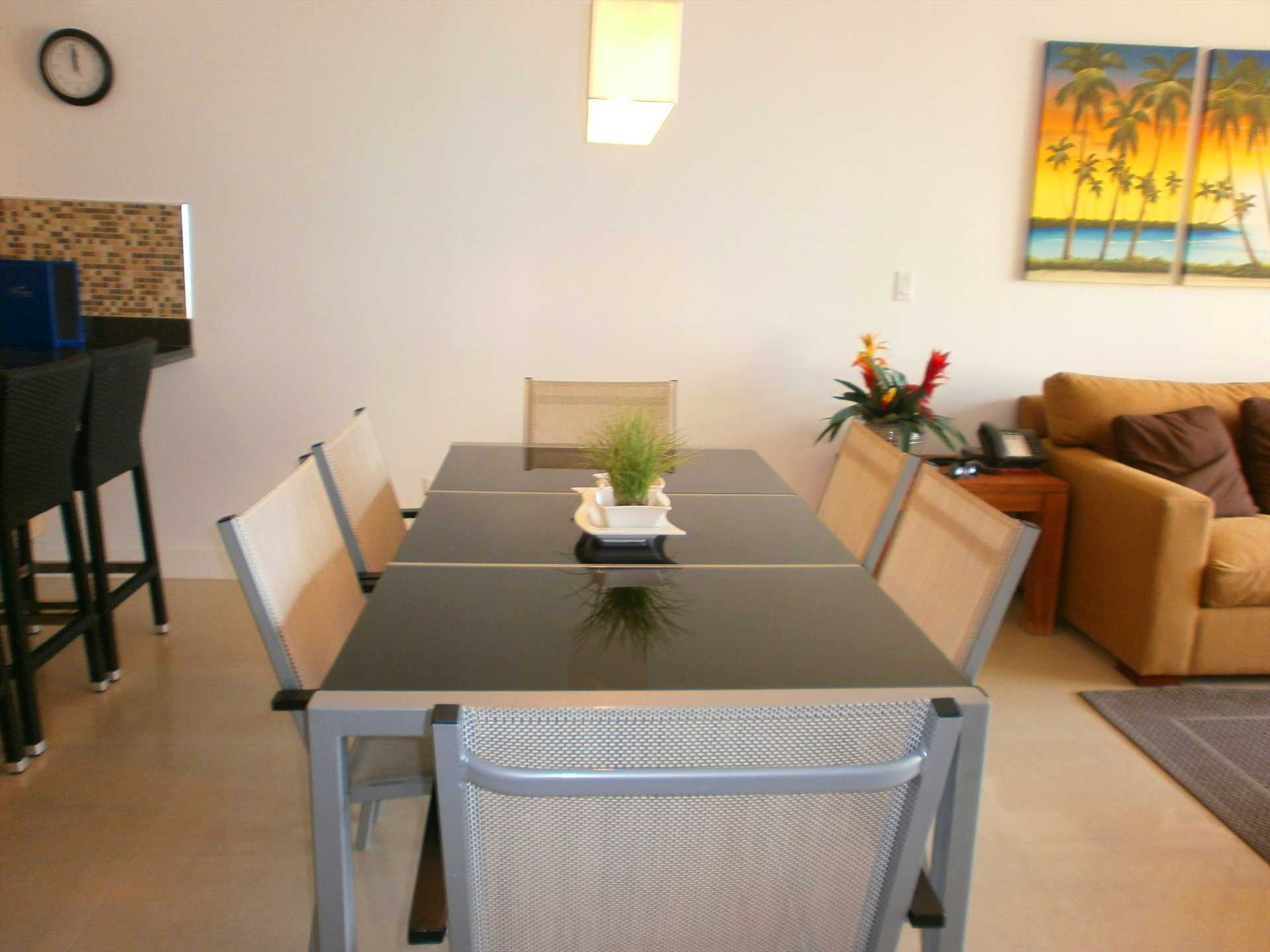6-seat dining table in the dining area