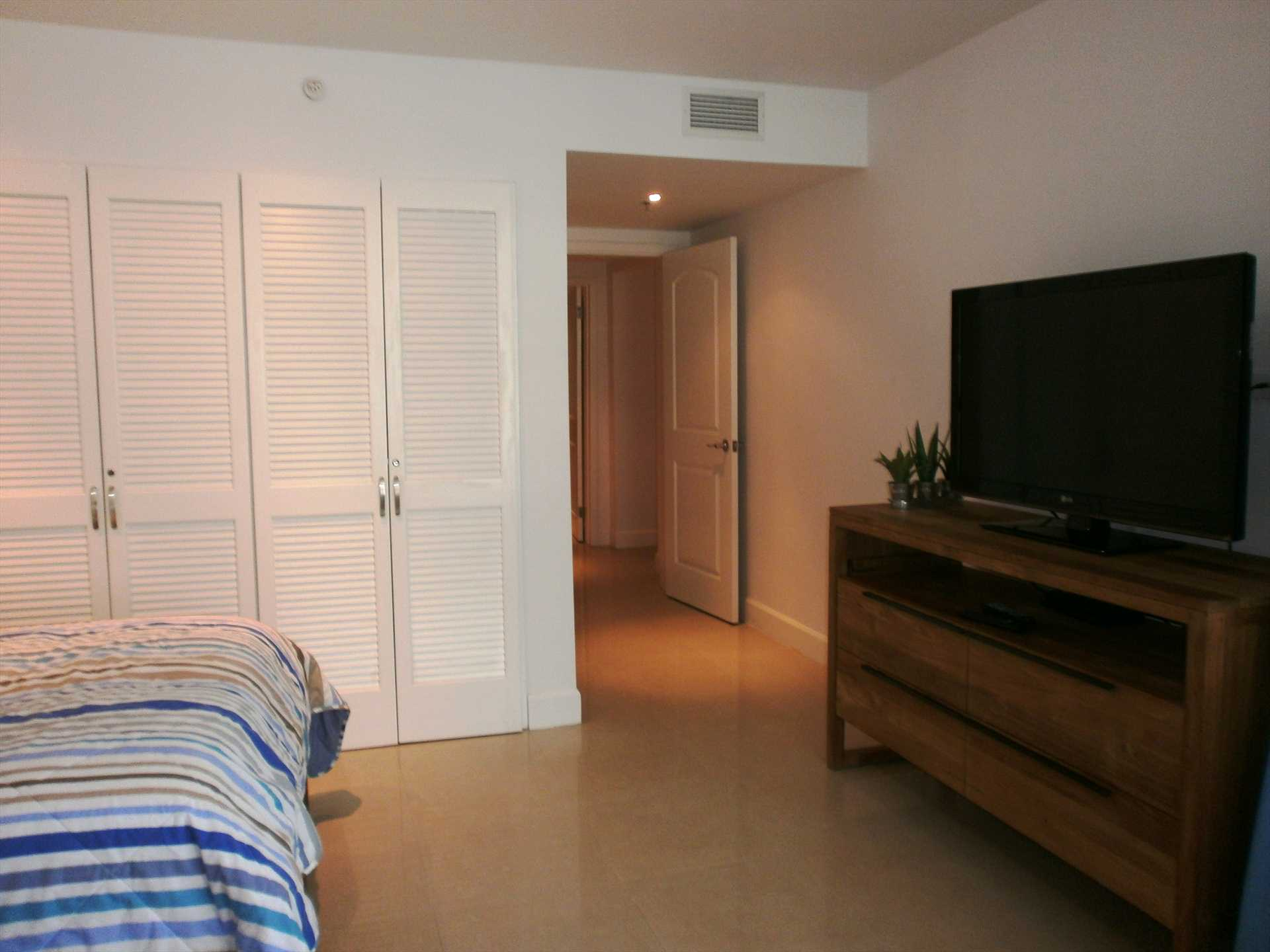TV and built-in closet in second bedroom