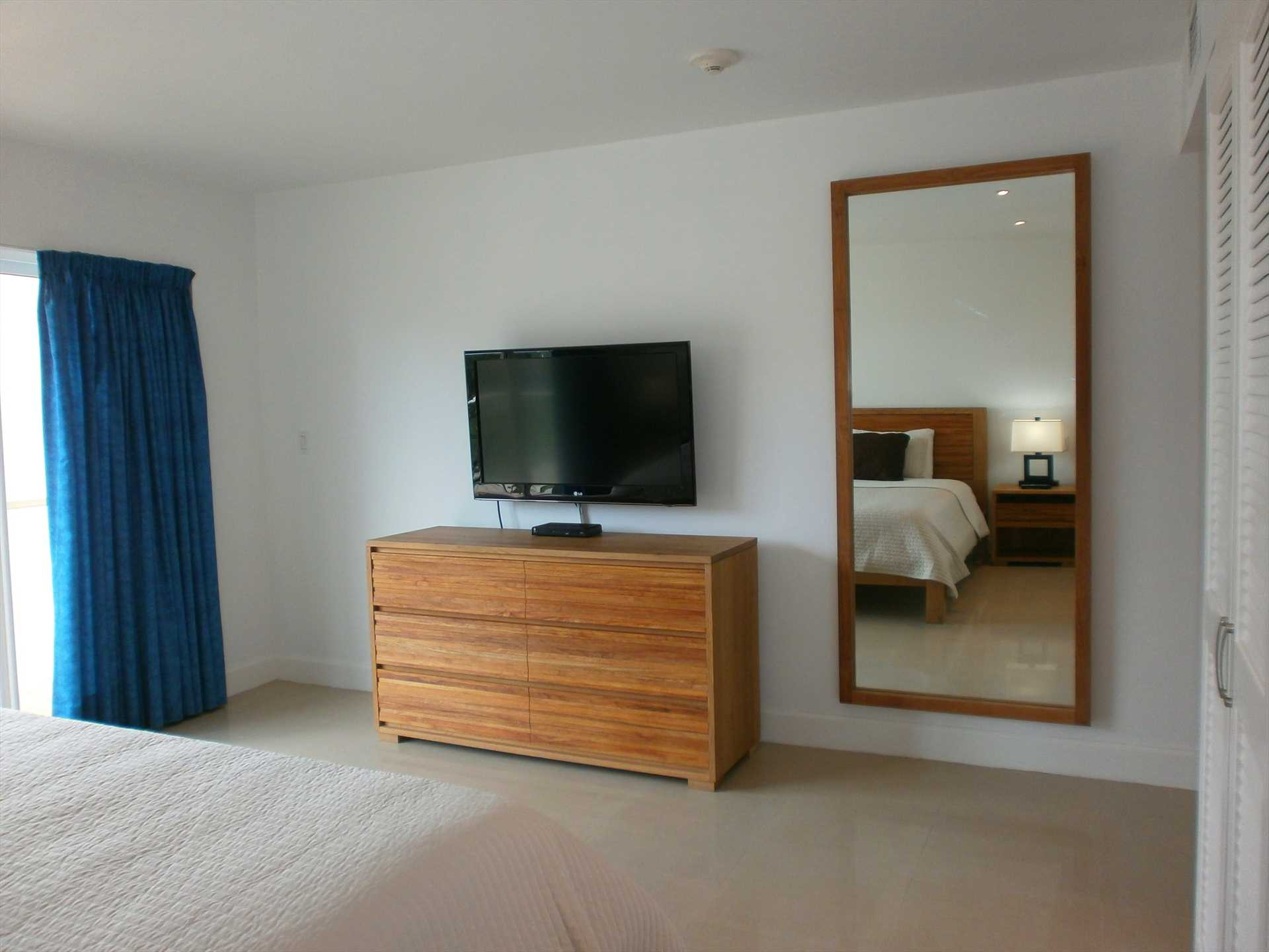 TV and large mirror in master bedroom