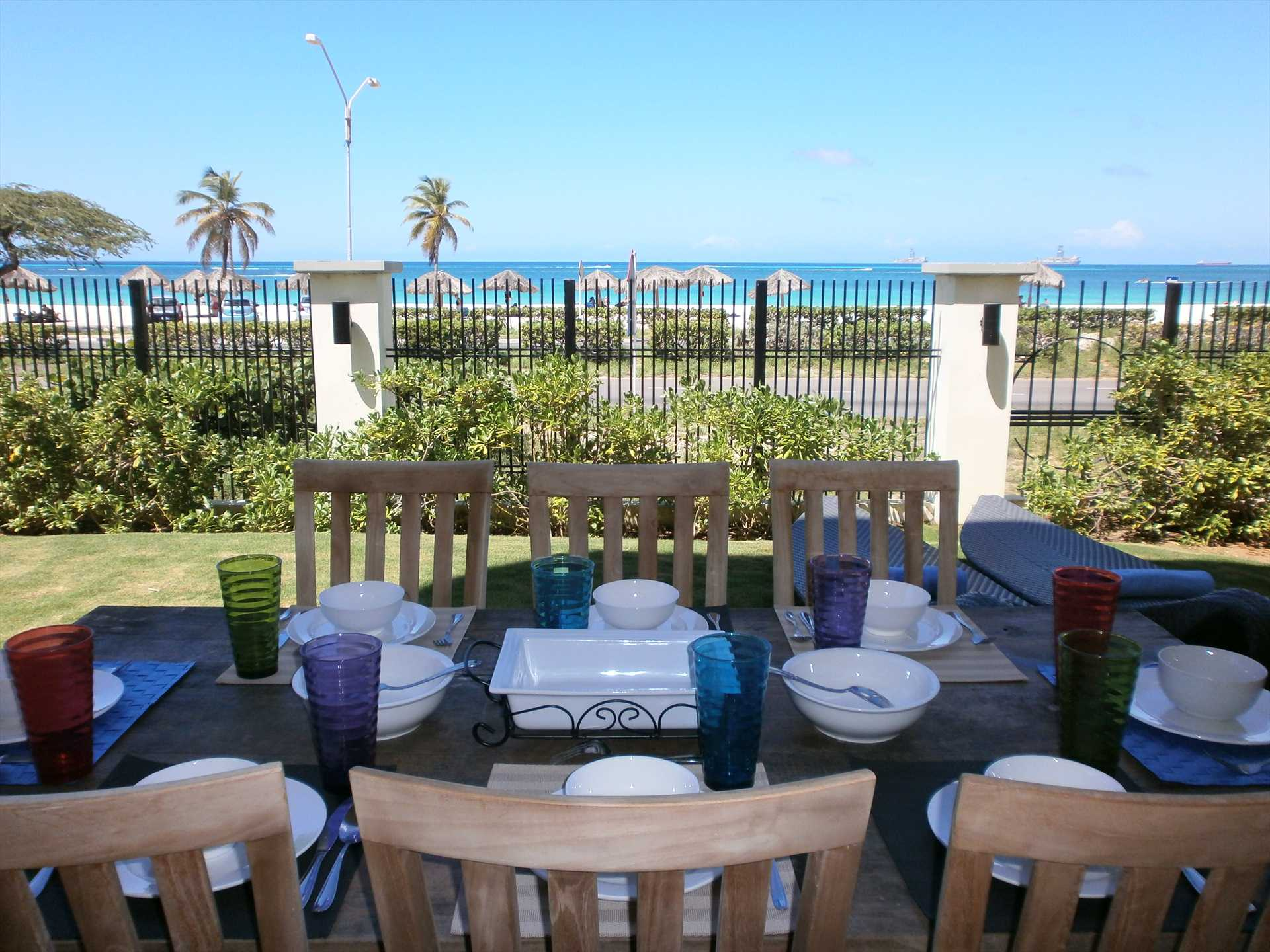 Enjoy the ocean view with any meal on your private patio