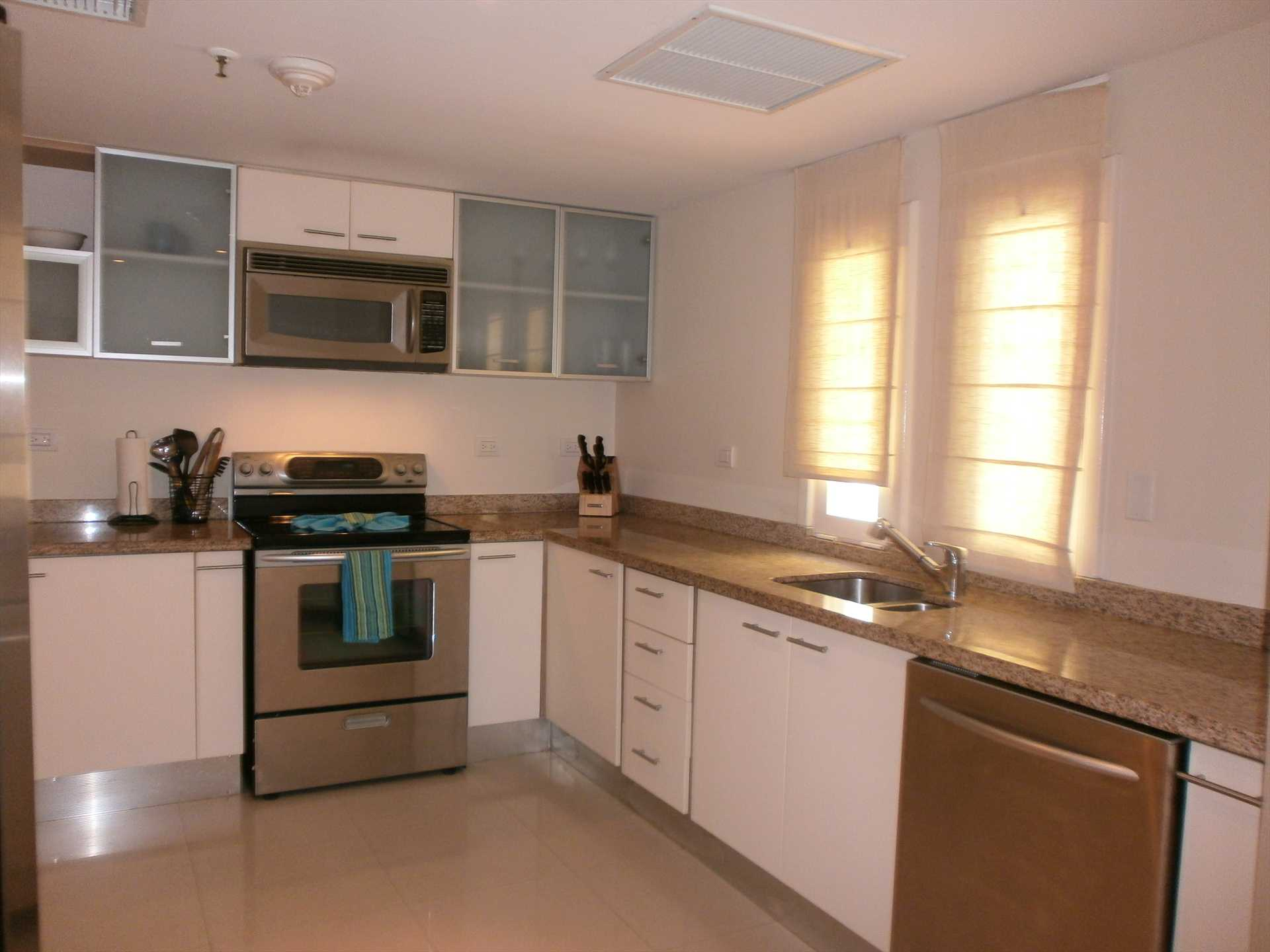Large, fully equipped modern kitchen in an enlosed area