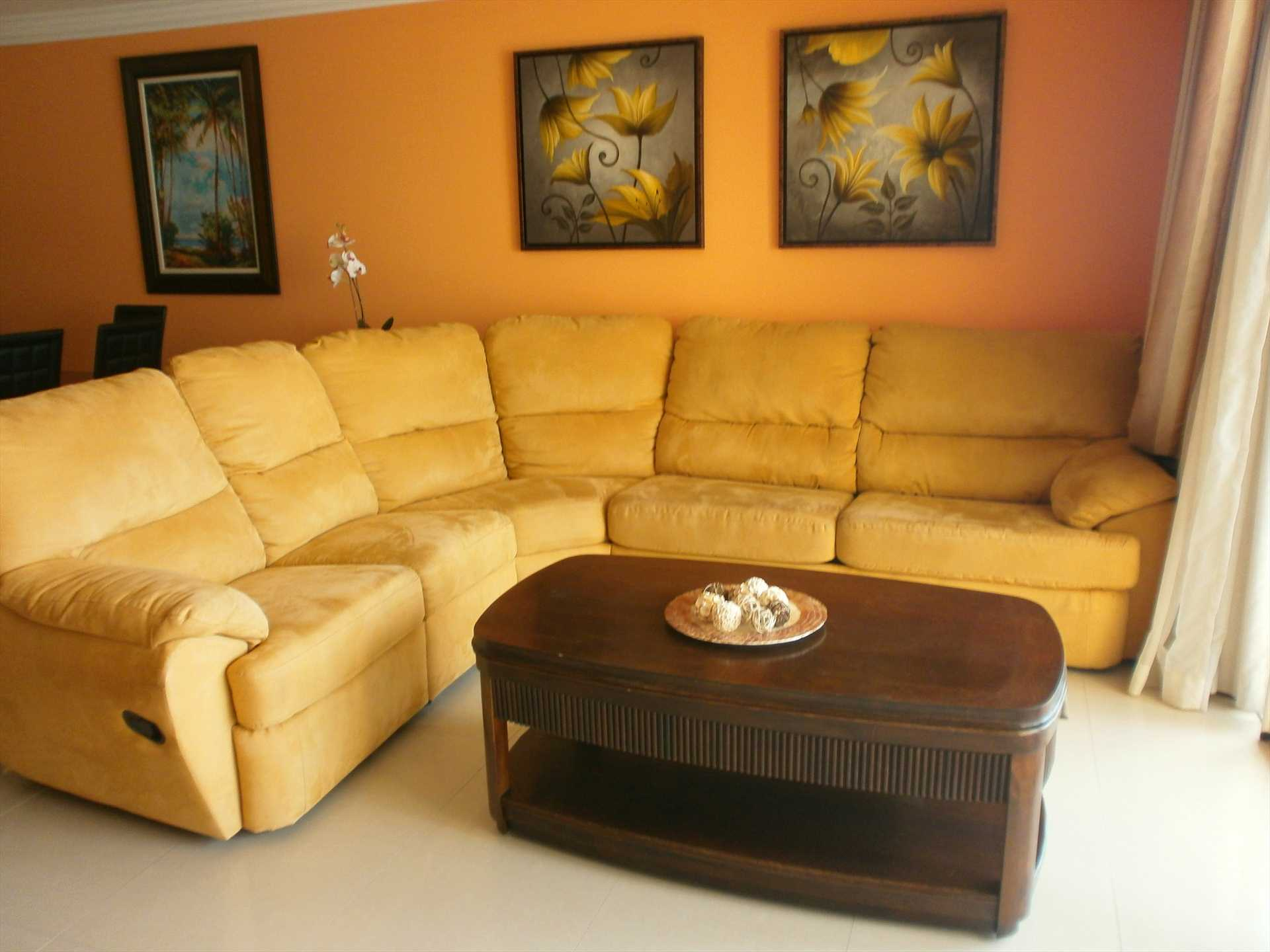 Living area with large L-shaped queen-size sofa-bed.