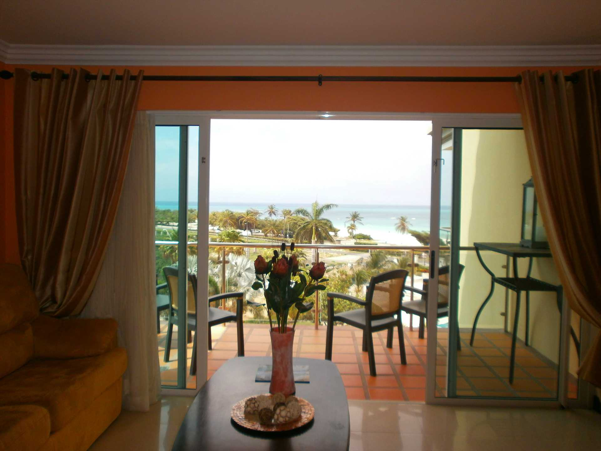 Savor the ocean view from your living room and balcony.