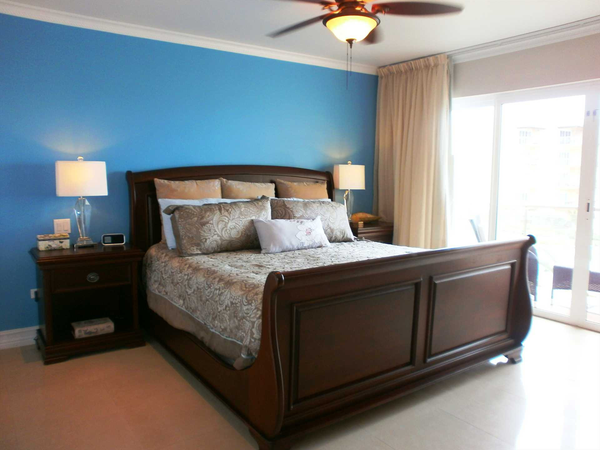 Master bedroom with comfortable king-size bed