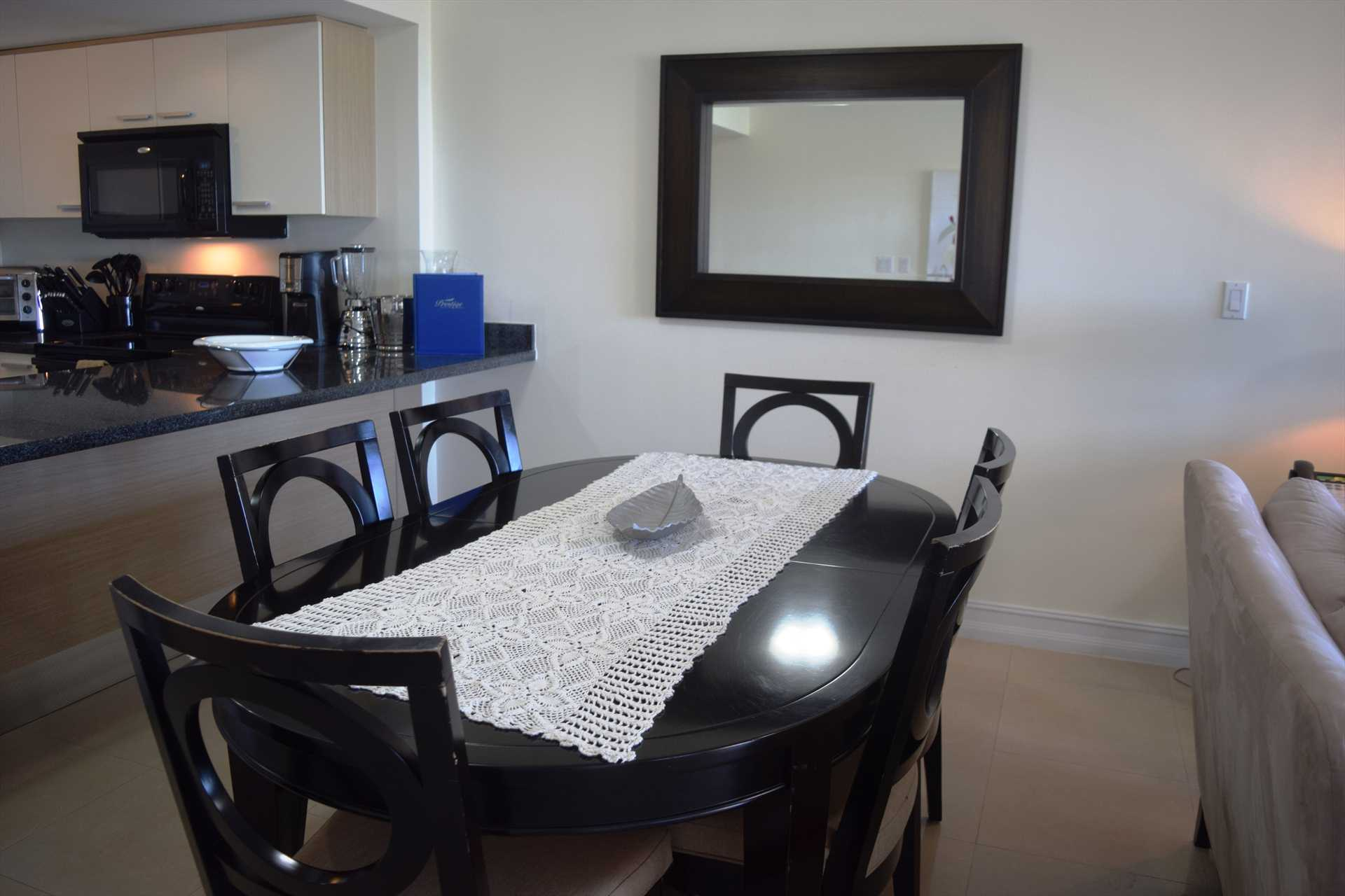 Dining area with 6-seat dining table