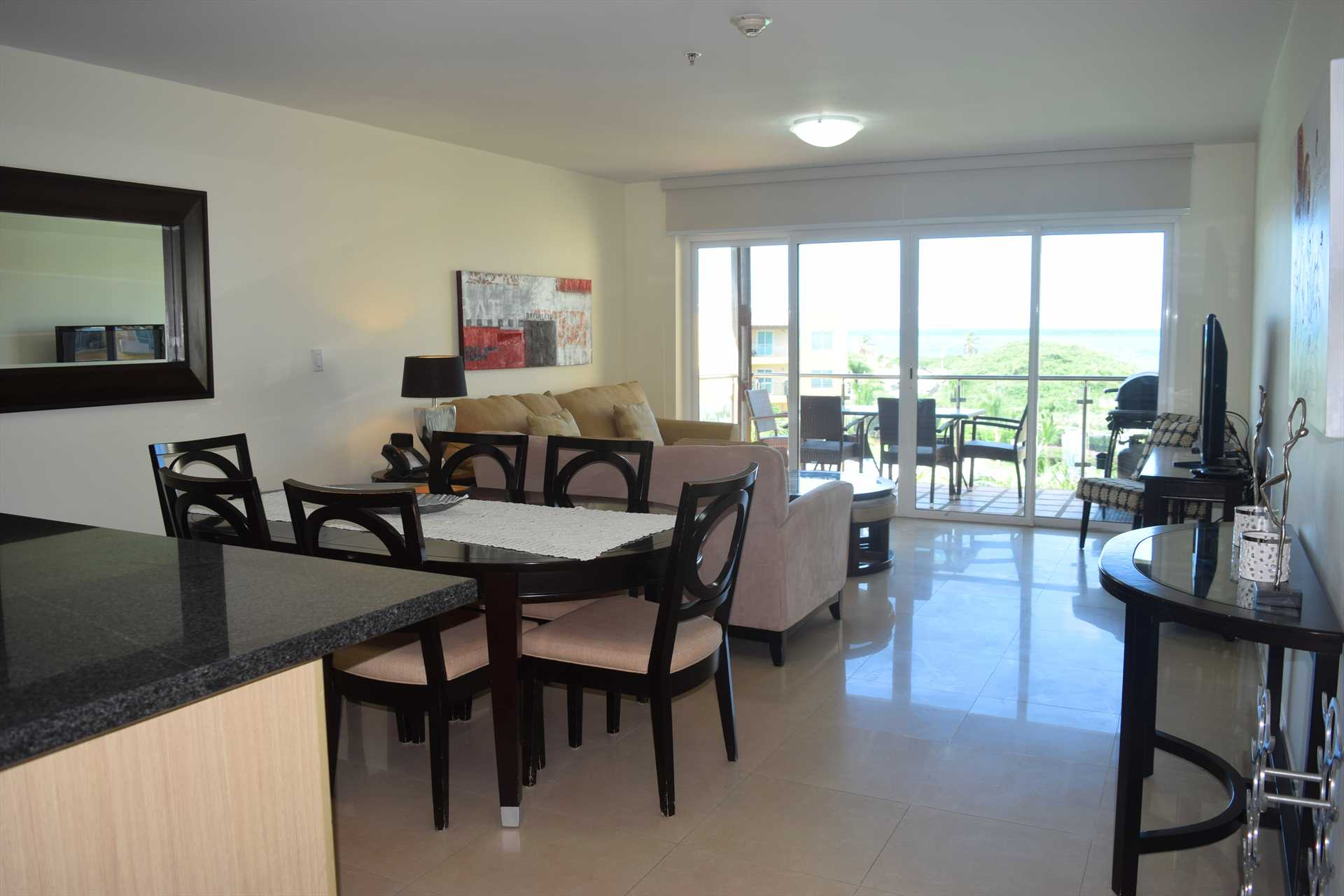 Very spacious living and dining room.