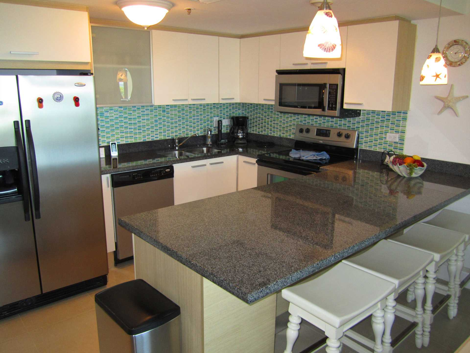 Additionally, 4-seat dining bar-table towards kitchen