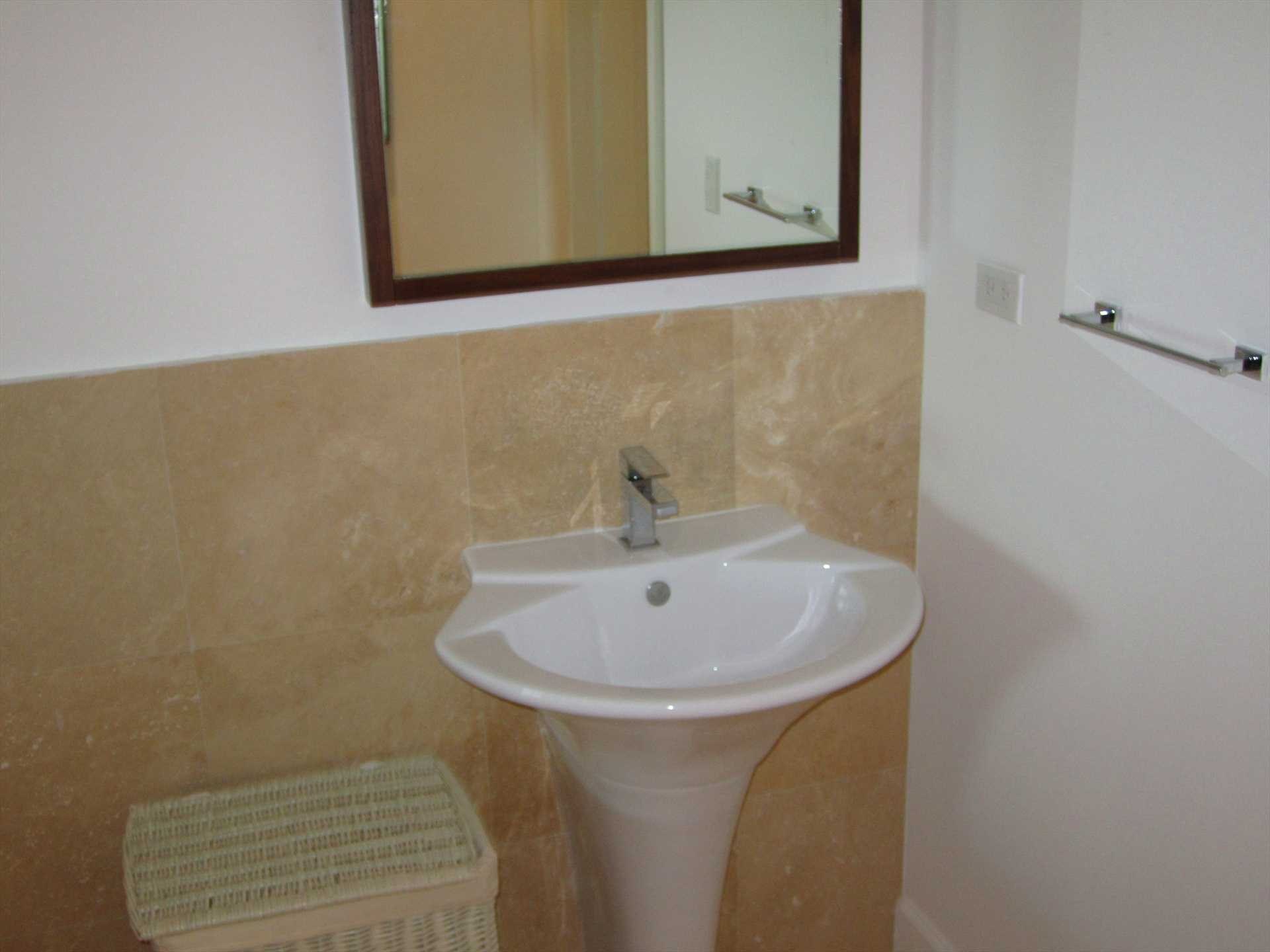 Separate spa room with sink and...