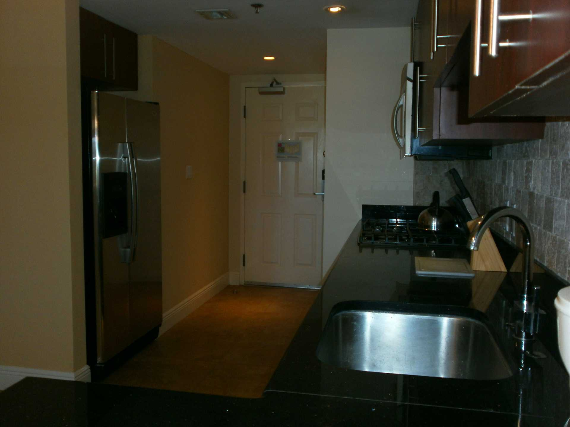 Fully-sized kitchen with refrigerator and ice maker.