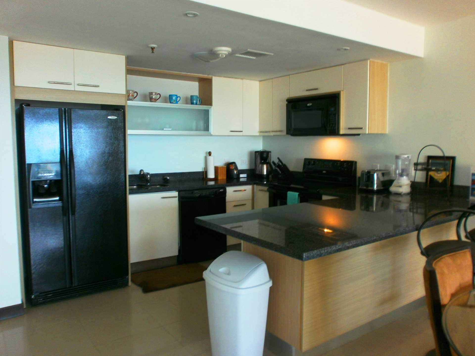 Full-sized fully equipped modern kitchen.