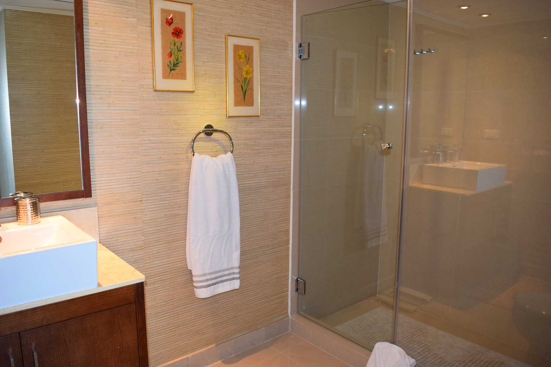 Master en-suite full bathroom with glass-enclosed shower area