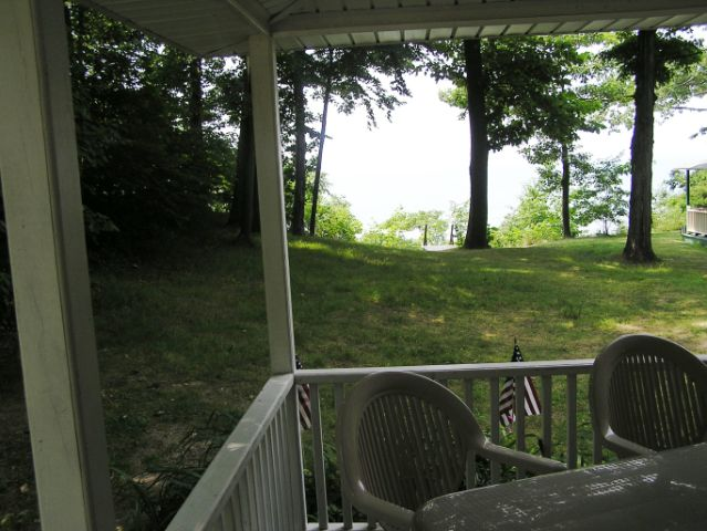 VIEW FROM PORCH TO LAKE & BEACH AND PRIVATE STAIRS