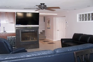 Living room with TV and Ceiling fan and fire place