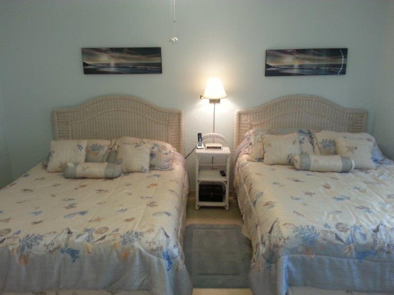 Alternate view of the bedroom with two Queen sized beds.