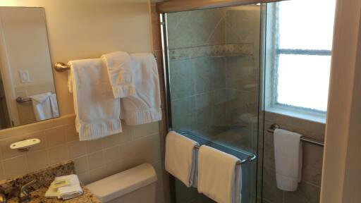 Bathroom with walk in shower with grab bars.