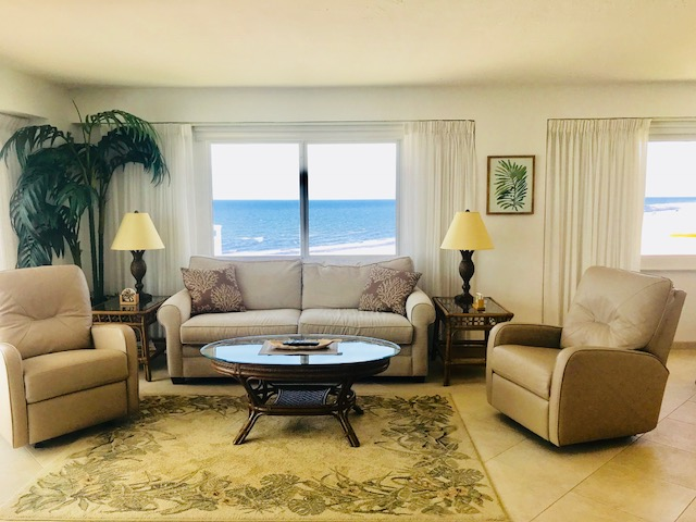 The living room area with views of the ocean.