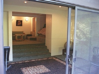 Glass slider to Downstairs Bedroom with 2 kings