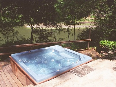 View of Jacuzzi @ BBQ area overlooking river
