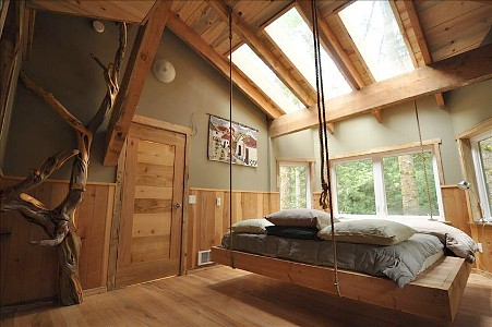King size hanging bed, skylights, & juniper log ladder for t