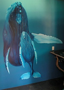 Whale mural in the master bath by Tanya Depoalo
