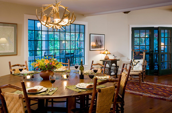Dining Room Opens to Porch and Lake Views - Lakefront Mounta