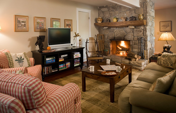 Lakehouse Great Room Features Massive Stone Fireplace and Be