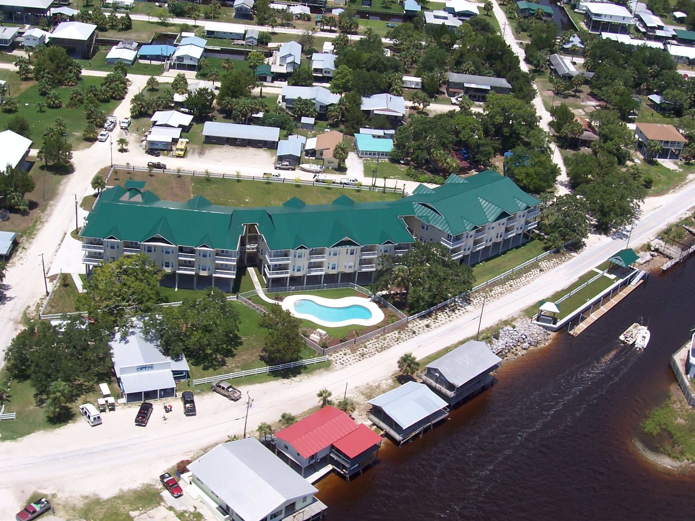 Condos from canal side from air