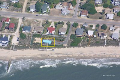 Aerial of Ocean Ridge Cabana on Beach
