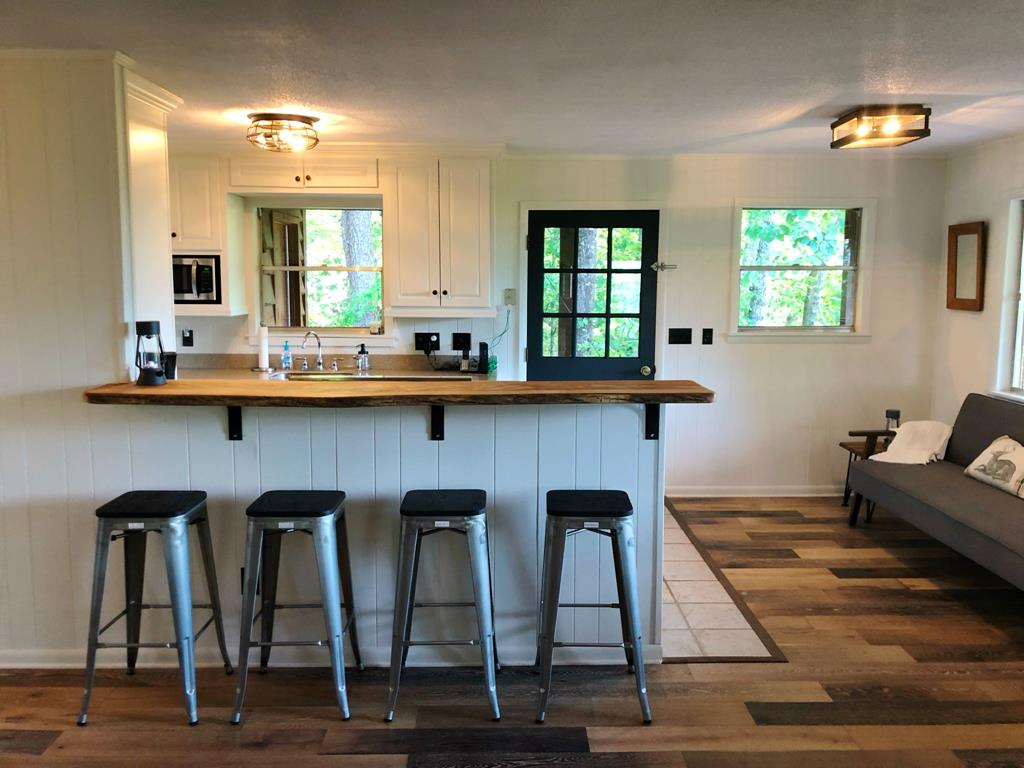 bar seating and kitchen