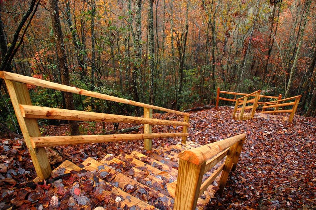 Hiking Trail has areas with stairs and handrails