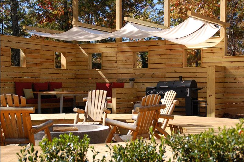 Woodland Loft shared fire pit and dining