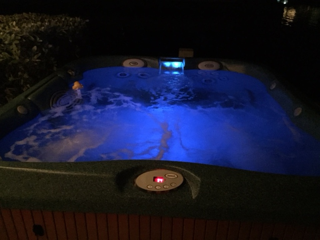 Waterside Jacuzzi with light and water features