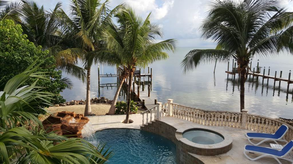Pool and dock from covered porch
