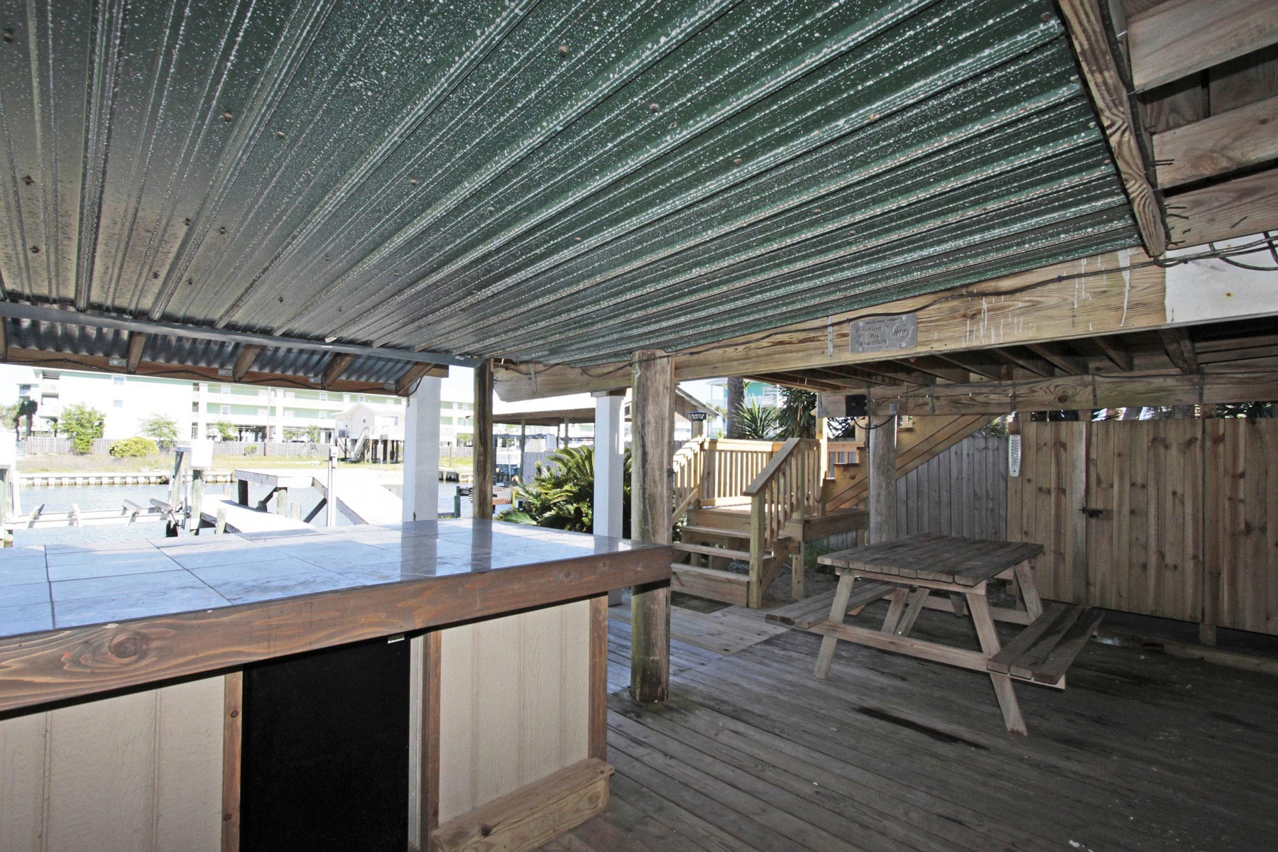 Hang-out area under deck