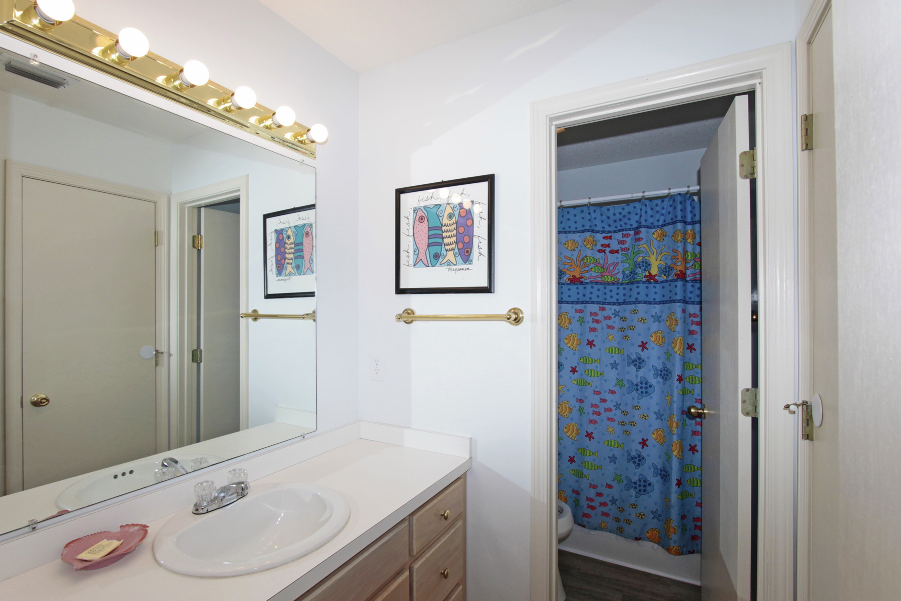 Hall bathroom (attaches to bedroom #2)